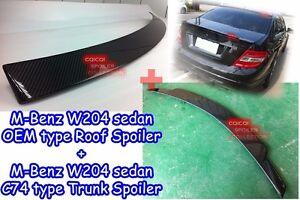 Carbon BENZ 08~14 W204 C Sedan V type trunk spoiler + OE type roof spoiler ◎