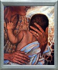 Mother with Child African American Fine Silver Framed Native American Picture