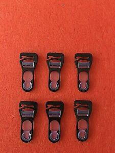 Straps Klemmen Ersatz  Set 6 Stück  schwarz  Clips mit Haken  Kunststoff/Silikon