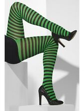 Black & Green Striped Tights Ladies Fancy Dress Costume Accessory