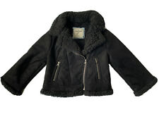 Abercrombie Kids Toddler Sz 3/4 Faux Sherling Black Bomber Jacket