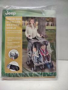 JEEP Side by Side Stroller Weather Shield Rain Cover Clear Fits Double Strollers