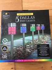 NEW GARDEN SOLAR POWER 5 PACK DALLAS SOLAR POSTS COLOUR CHANGING LIGHTS