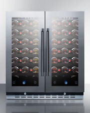 "Summit Swc3066B 30"" 66 Bottle Wine Cellar French Door Dual Zone Stainless Trim"