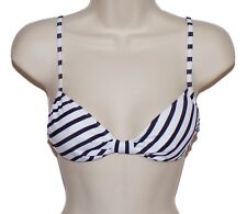 Roxy bikini top swimsuit size L black white striped bandeau nwt new
