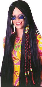 ADULT LONG BLACK LOVE CHILD WOODSTOCK HIPPIE WIG BEADS COSTUME DRESS FW8592