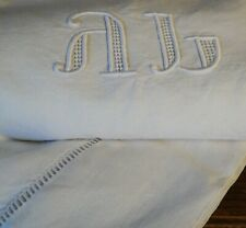 More details for exquisite pure linen antique french sheet handworked linen monogram a.l initials