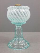 ANTIQUE AQUAMARINE LIGHT BLUE OPALESCENT SWIRL MIX & MATCH KEROSENE OIL LAMP