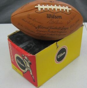 """Vintage 1973 Wilson Code """"F"""" Green Bay Packers Team Signed Football & Box Mint"""