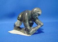 "Inuit Steatite Eskimo Carving by Jobie Aculiak c.1985 4 1/2"" x 2 7/8"""