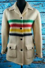 Vintage Hudson Bay Striped 4 Colors Pure Virgin Wool Coat Women's Size Medium