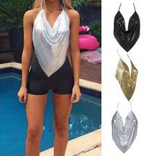Damen Pailletten Rückenfrei Crop Top Sommer Casual Tank Weste T-Shirt Clubwear