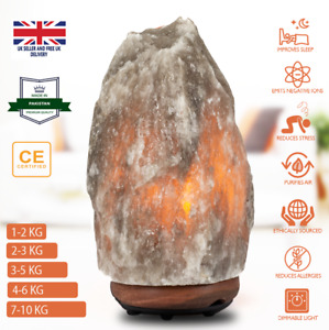 Natural Himalayan Salt Lamp GREY Crystal Salt Night Desk Lamp UK CE Plug Cable