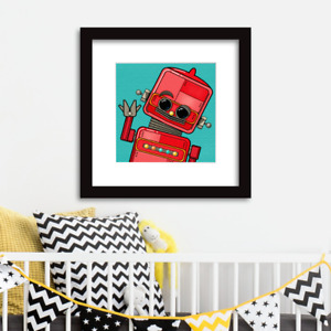 Robot wall art for children/babies Limited Edition Red Robot