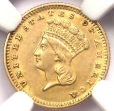 1870 Indian Gold Dollar Coin G$1 - Certified NGC AU Details - Rare Date!