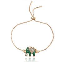 Fashion Gold Plated Crystal Elephant Bracelet Chain Women Charm Bangle Jewelry