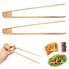 2 Bamboo Toaster Tongs Wood Kitchen Accessory Toast Fruits Bread Bagel Chopstick