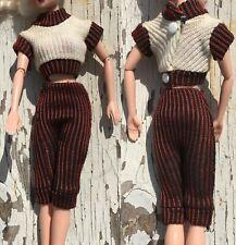 Barbie Clone Vintage Knit Capri Crop top metal snaps
