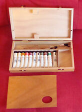NEW Rowney wooden paintbox, includes 11 paints, 6 brushes,palette,artists,daler-