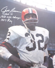 JIM BROWN AUTHENTIC AUTOGRAPHED SIGNED 16X20 PHOTO BROWNS WITH STATS PSA 145343
