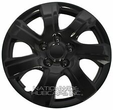 "Set of 4 BLACK 16"" Hub Caps Wheel Covers 7 Spoke Star Full Tire Rim Lug Hubs New"