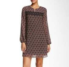 NWT $140 Max Studio Printed Trapeze Floral Dress Size XS Relaxed A-line BlackRed