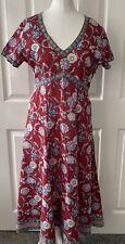 Anokhi para Oriente Rojo Azul Floral Bloque de Mano India corbata de cuello en V vestido de algodón UK 10