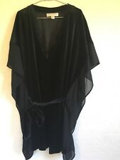 Michael Kors Velvet And Chiffon Black 2X Tunic Top Dolman Sleeve V Neck
