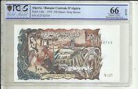 ALGERIA 100 DINARS 1970. P 128a. UNC CONDITION PCGS GRADE 66. 6RW 03NOV