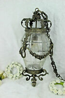 Antique Belgian Bronze Val saint lambert crystal glass chandelier lantern ram