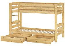 cama de Cucheta niños PINO MACIZO 90x200 incl. Parrillas Con Ruedas 2 Cajas Para
