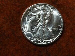 1947 D Walking Liberty Half Dollar,90% Silver, UNC, BU , Super Minty !!!!!   (A)