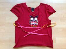 Süßes Damen Designer Sommer Shirt von Anna Sui rot Eule Pailletten Größe m Neu