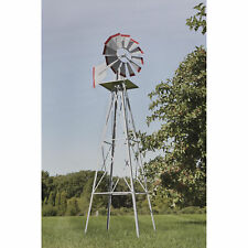 8ft. Ornamental Decorative Garden Windmill Weather Vane- Galvanized w/ Red Tips