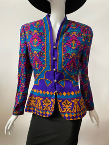 Adrianna Papell Womens Suit Jacket Blazer Multicolor 100% Silk Damask Lined 6