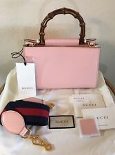 NEW Gucci Pink Nymphaea Bamboo Handbag 2 Way Web Stripe Strap Shoulder Tote Bag