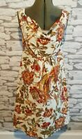 Joules Adele floral Dress Tom Joule Collection Empire Line Cowl Neck 8uk autumn