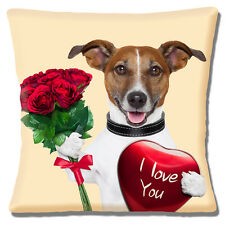 "NEW TAN WHITE JACK RUSSELL RED ROSES 'I LOVE YOU' HEART 16"" Pillow Cushion Cover"