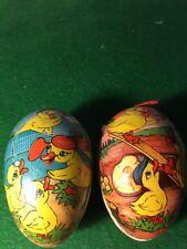 Vintage Easter Eggs Paper Mache Cardboard East Germany Yellow Ducks Retro Nice!