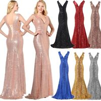 Plus Sequin Bridesmaid Mermaid Long Prom Dress V Neck Formal Party Pageant Gowns