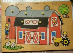 VTG1971 FISHER PRICE 11 pcWOODEN FARM BARN PUZZLE MADE IN HOLLAND Quaker Oats Co