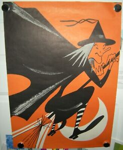 Vintage Halloween Poster Witch on Broom Flying with Moon Grocery Store Display