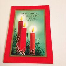 Vintage Greeting Card Christmas Daughter Candles Pine Gibson