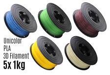 5x 3D Filament PLA 1kg 1,75mm Unicolor Drucker Printer Spule Rolle 1000g