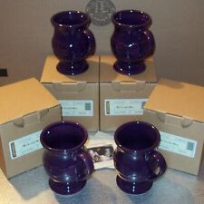 Longaberger Eggplant Pottery Latte Mugs 4-Footed Mugs ~ New in Original Boxes!