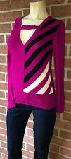 SONIA RYKIEL Assymetric Stripe Pullover Sweater Italian Wool w/ Bow Detail Small