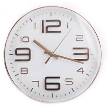 30cm Black or White Rose Gold Copper Round Glass Embossed Wall Hanging Clock White