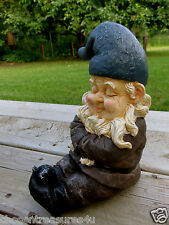 Garden Gnome Lawn Ornament Statue Stubborn Arms Ctossed Sitting Pouting 10 in.