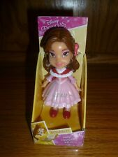 """Disney Princess Mini Toddler Belle Poseable 3"""" Doll Red Cape Pink Dress Winter"""