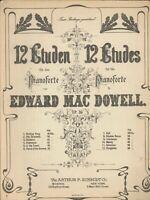MacDowell Hungarian Etude Op 39 #12 Piano Solo Sheet Music 1918 Schmidt